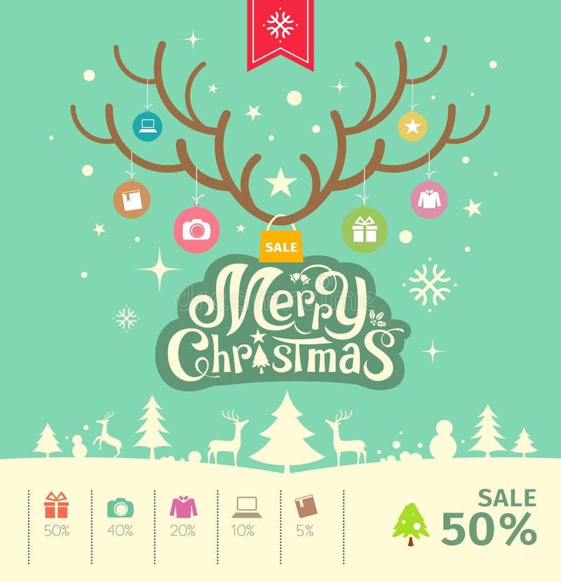 Concept de vente de renne de Joyeux Noël sur le fond vert illustration stock