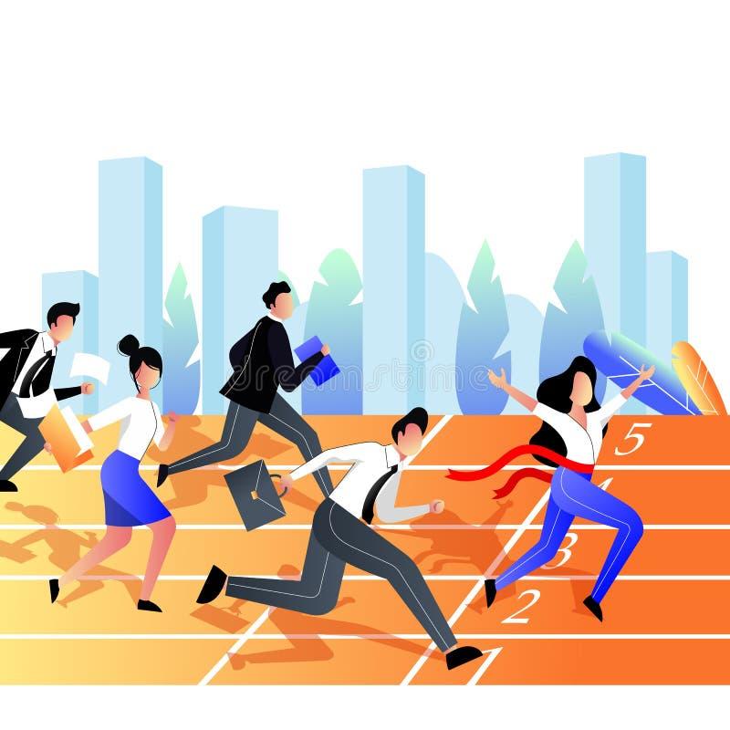 Concept de victoire de concurrence d'affaires Le groupe d'hommes d'affaires emballent sur la voie de sports de stade Illustration illustration libre de droits