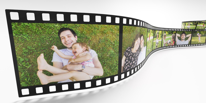 Concept de vie de famille Photos de famille heureuse sur la bande de film 3D a rendu l'illustration illustration stock