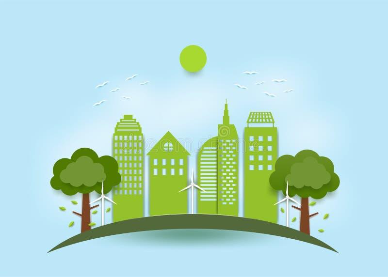 Concept de ville écologique, ville verte utilisant l'énergie naturelle Sous forme d'art du papier images stock
