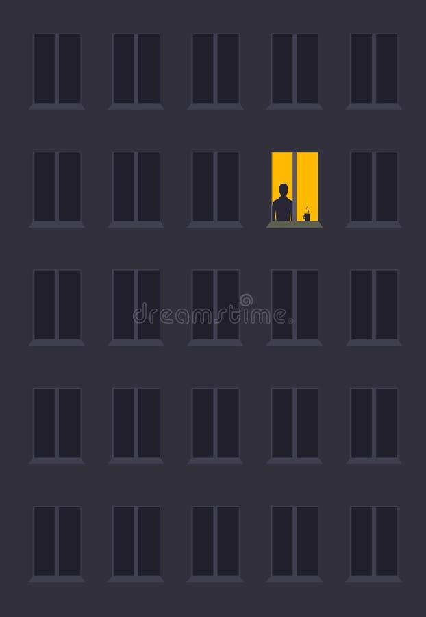 Concept de ville d'homme de solitude illustration de vecteur