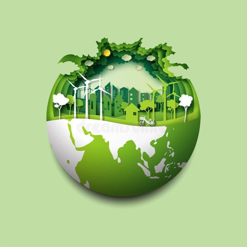 Concept de ville de la terre verte et d'eco illustration de vecteur