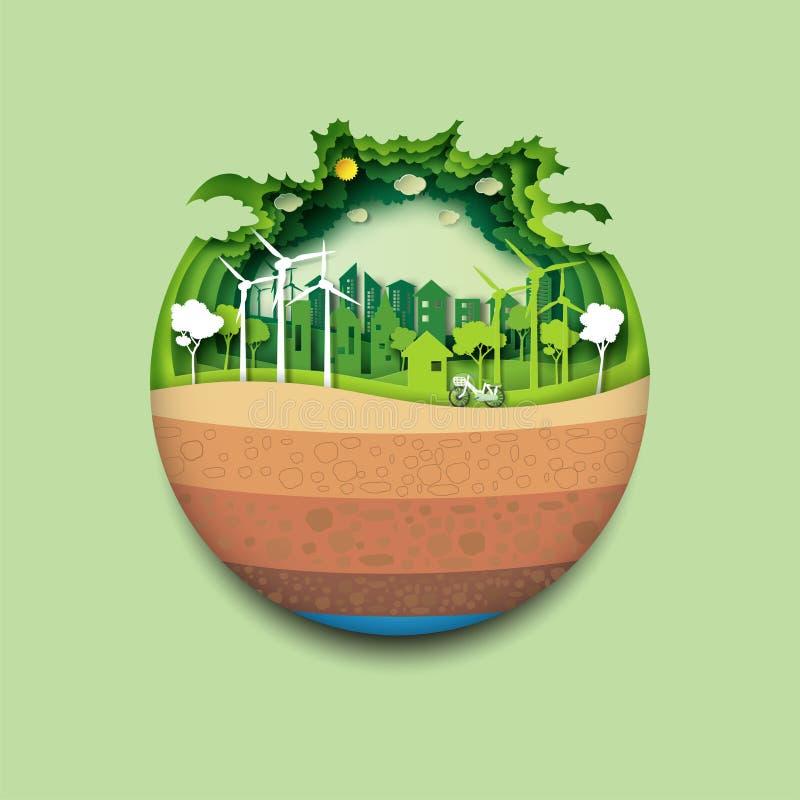 Concept de ville de la terre verte et d'eco illustration stock