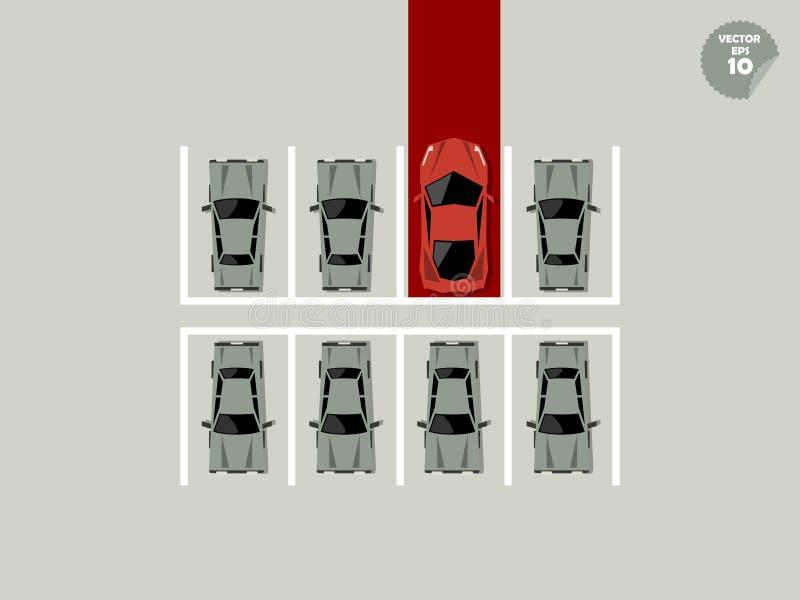 Concept de VIP, parking superbe de voiture avec le tapis rouge illustration de vecteur
