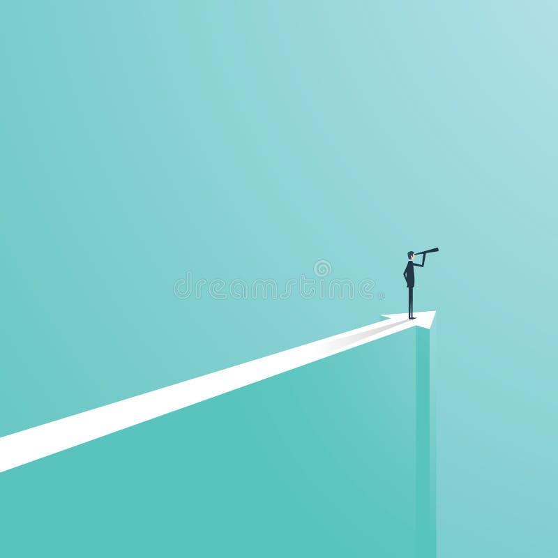 Concept de vision dans les affaires avec l'icône de vecteur de l'homme d'affaires et du télescope, monoculaire Direction de symbo illustration stock