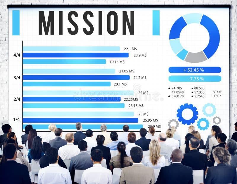 Concept de vision de stratégie de cible de solution de mission images stock