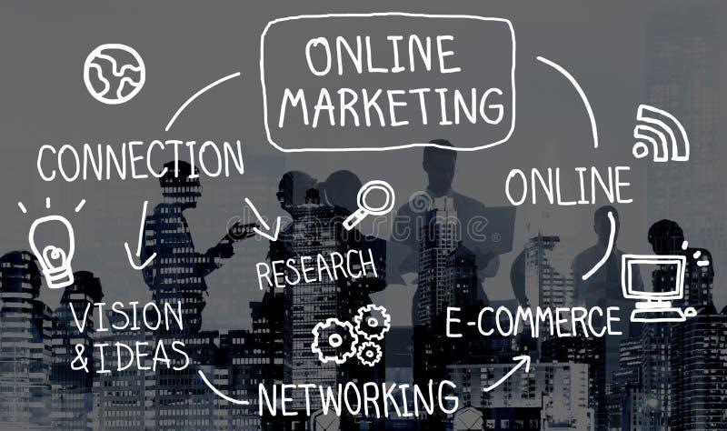 Concept de vision de stratégie de mise en réseau de Digital de marketing en ligne photographie stock