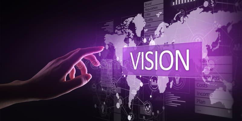 Concept de vision, de veille commerciale et de stratégie sur l'écran virtuel photo libre de droits