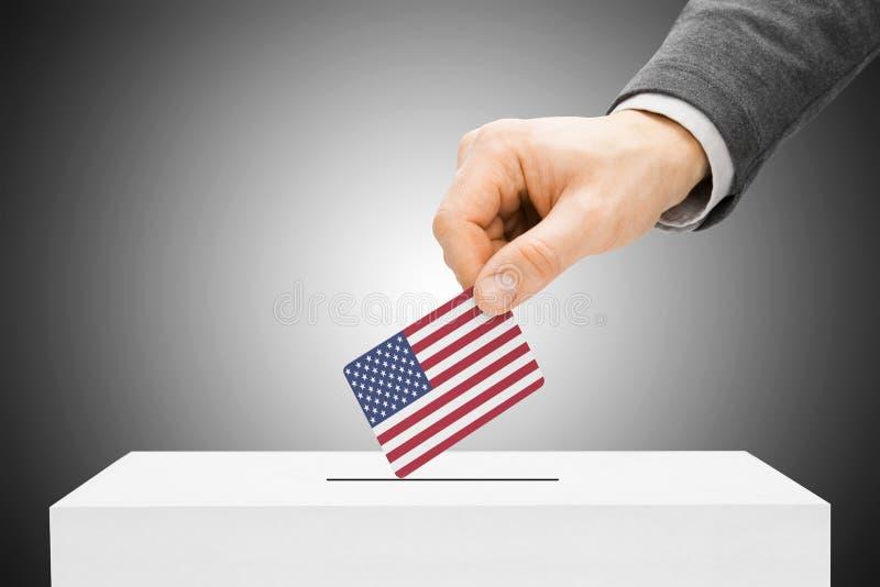 Concept de vote - équipez insérer le drapeau dans l'urne - les Etats-Unis illustration libre de droits