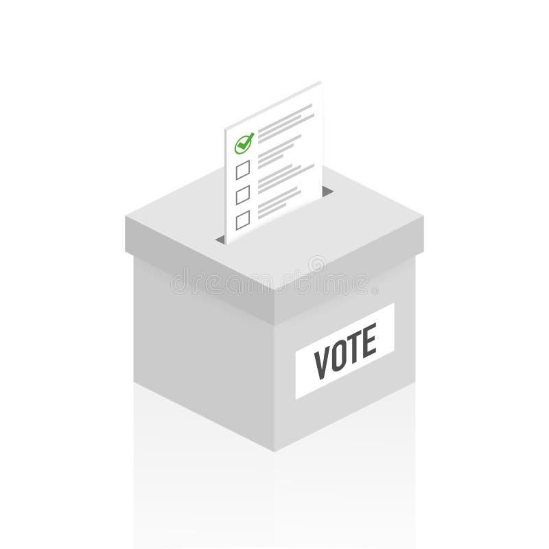 Concept de vote dans le style plat - remettez mettre le papier dans l'urne  Illustration de vecteur illustration stock