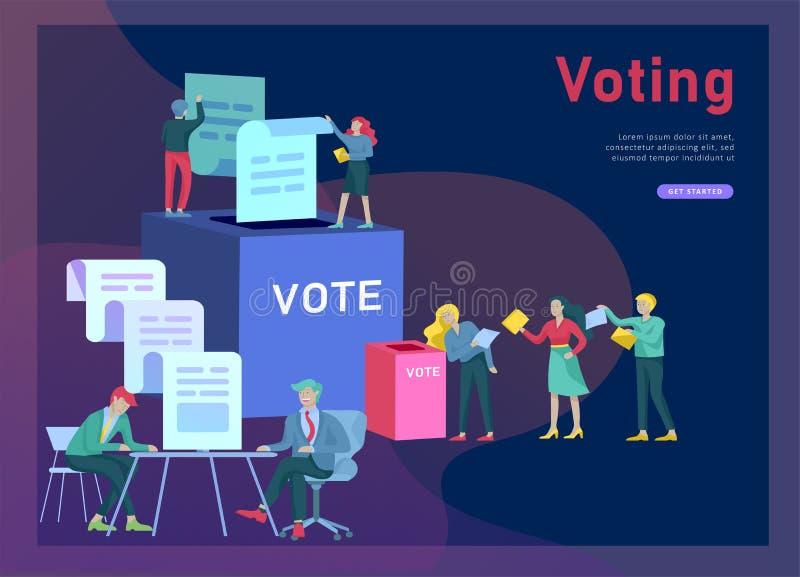 Concept de vote et d'élection Campagne pré-électorale Promotion et publicité de candidat illustration de vecteur