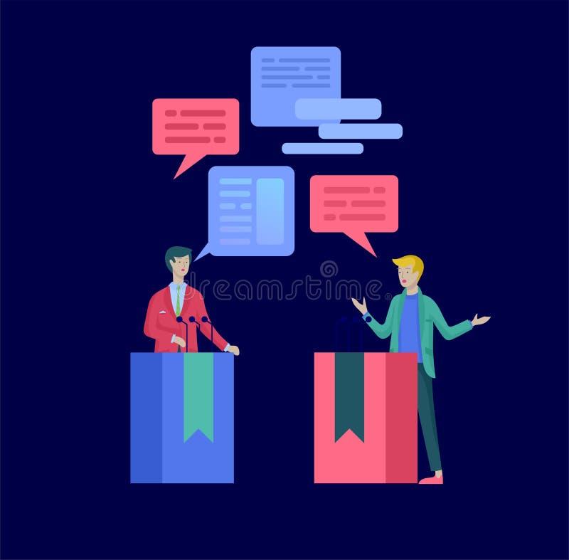 Concept de vote et d'élection Campagne pré-électorale Promotion et publicité de candidat illustration libre de droits
