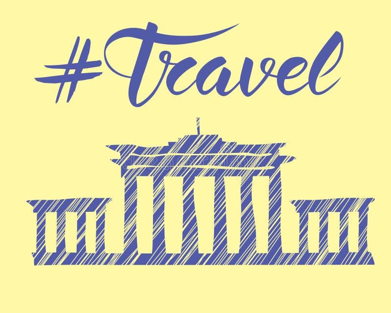 Concept de voyage avec le monument illustration libre de droits