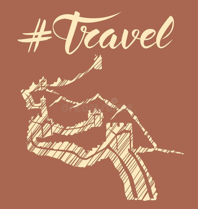 Concept de voyage avec le monument illustration stock