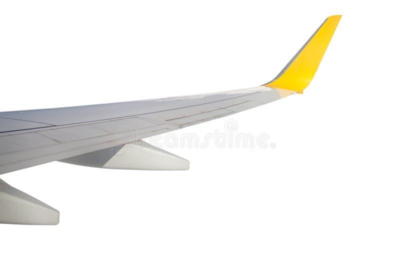 Concept de voyage d'aile d'avion d'isolement sur le blanc image stock