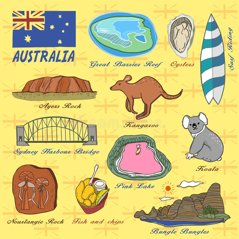 Concept de voyage d'Australie illustration de vecteur