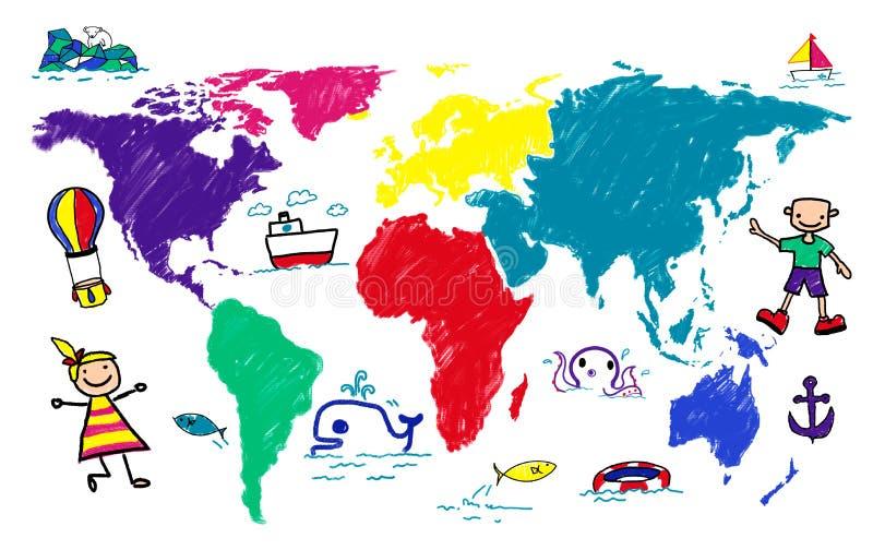 Concept de voyage d'imagination d'aventure de voyage d'enfants du monde illustration stock