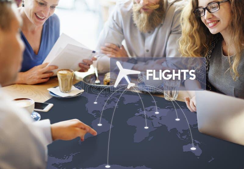 Concept de voyage de destination de réservation de billet de vol photographie stock libre de droits