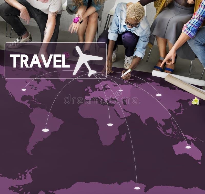 Concept de voyage de destination de réservation de billet de vol images libres de droits