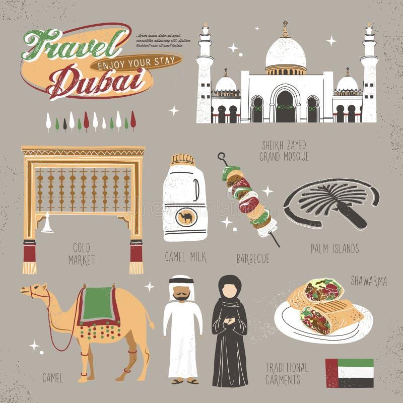 Concept de voyage de Dubaï illustration de vecteur