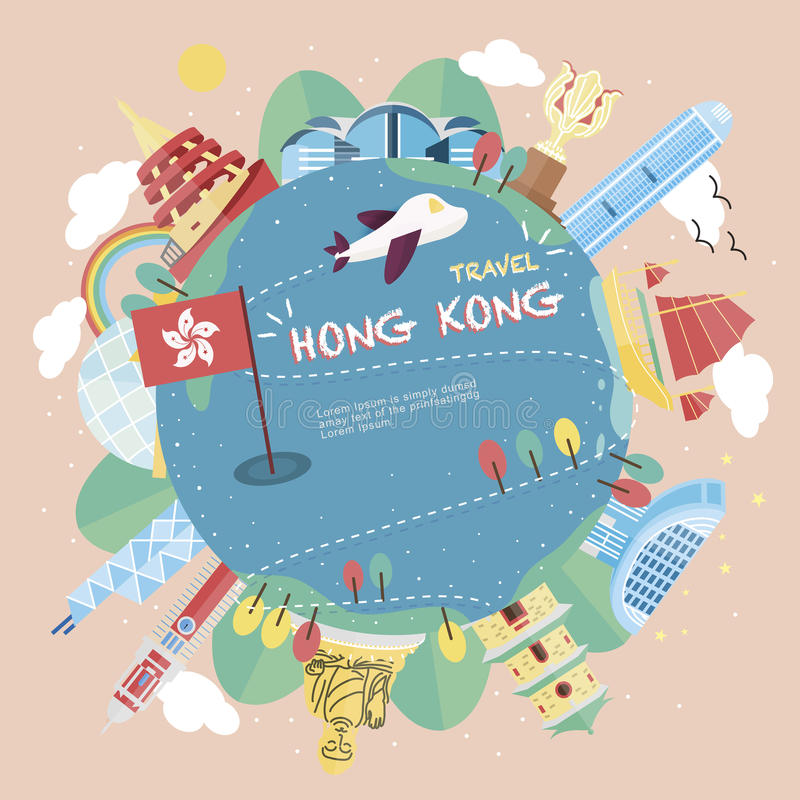 Concept de voyage de Hong Kong illustration stock