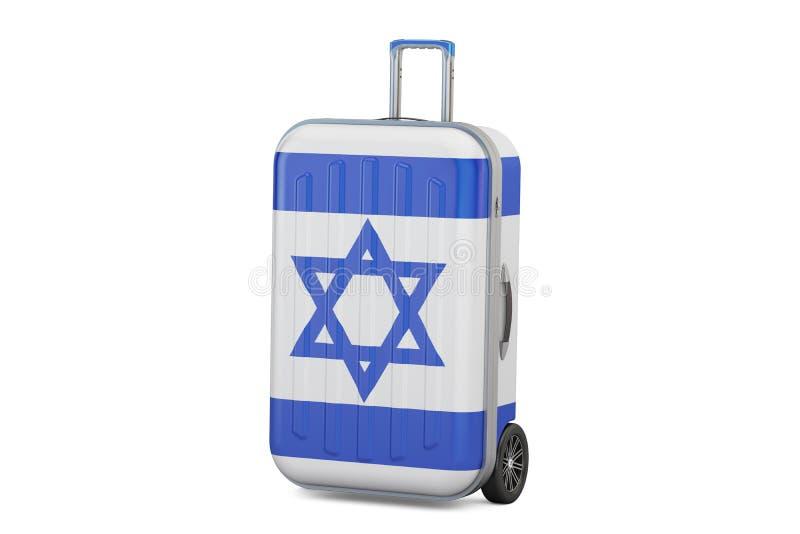 Concept de voyage de l'Israël, valise avec le drapeau israélien rendu 3d illustration de vecteur