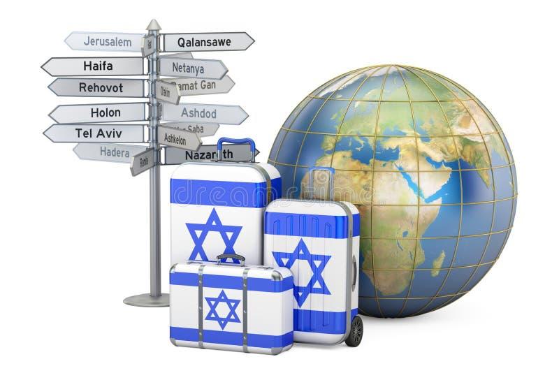 Concept de voyage de l'Israël Valises avec le drapeau israélien, poteau indicateur illustration libre de droits