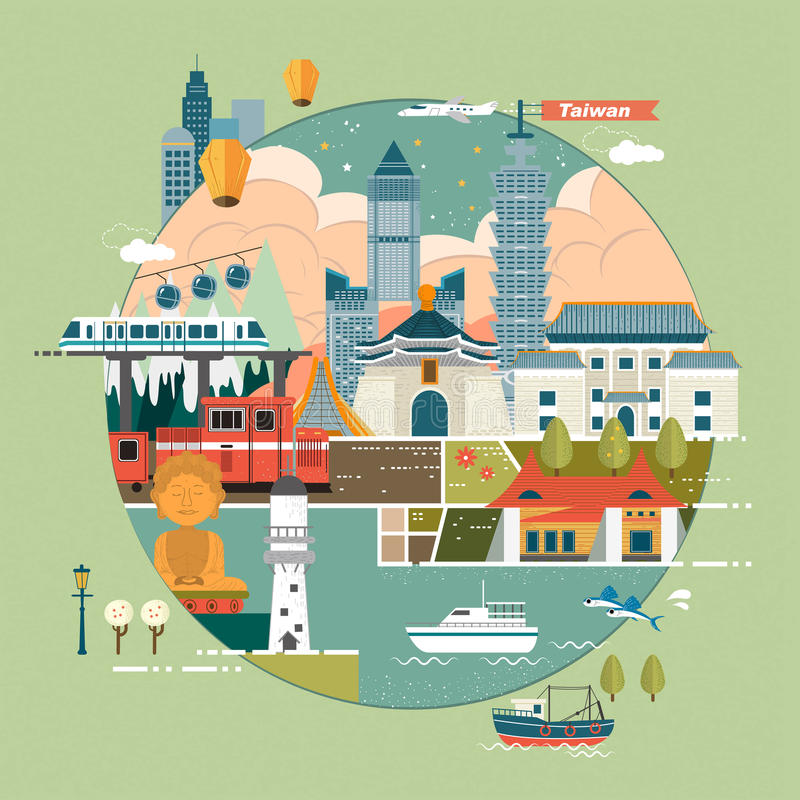 Concept de voyage de Taïwan illustration stock