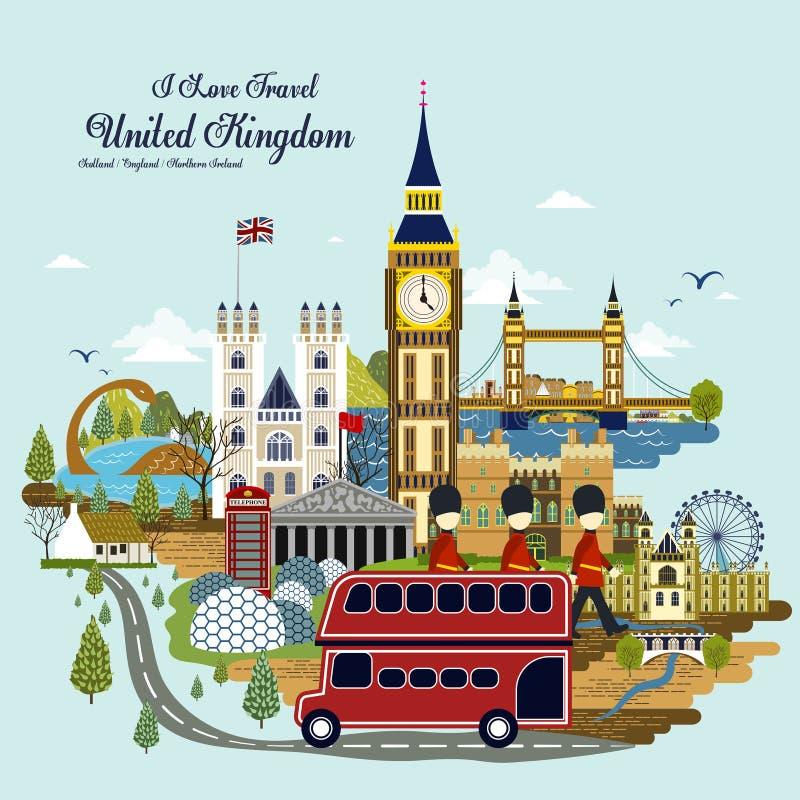 Concept de voyage du Royaume-Uni illustration de vecteur