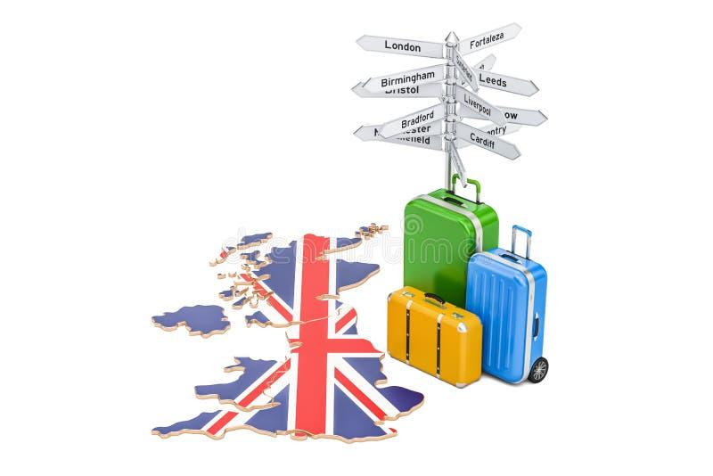 Concept de voyage du Royaume-Uni Drapeau britannique sur la carte avec la valise illustration libre de droits