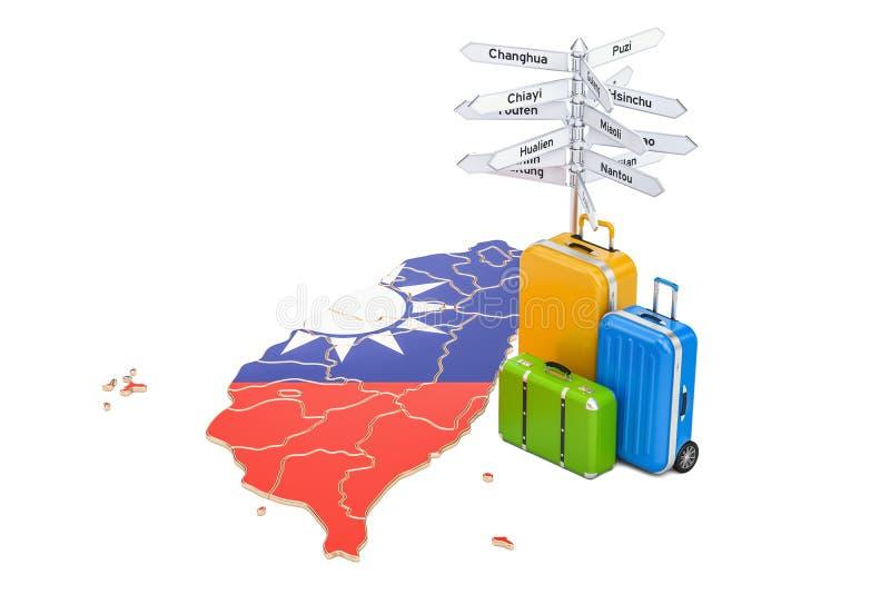 Concept de voyage de Taïwan Drapeau sur la carte avec les valises et le poteau indicateur, illustration stock