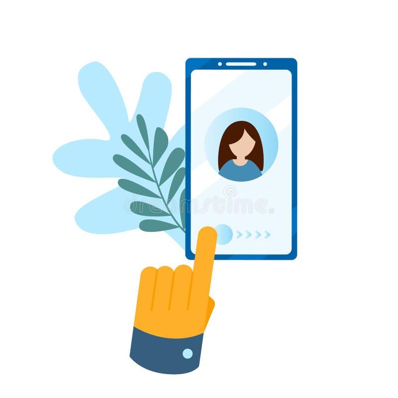 Concept de vraag, adresboek, notaboek De grote hand drukt de knoop op het smartphonescherm vector illustratie