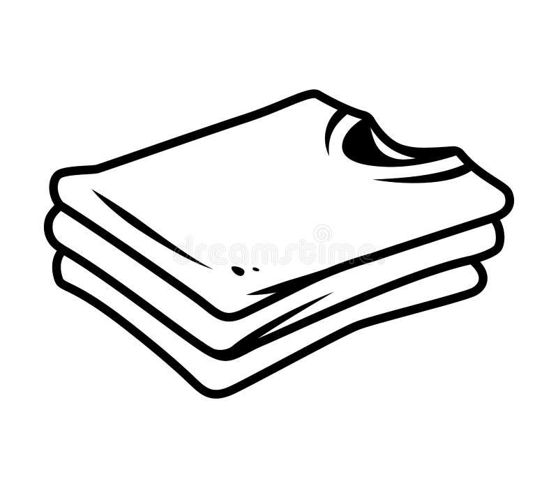 Concept de vue de côté de pile de chemises de vintage illustration stock