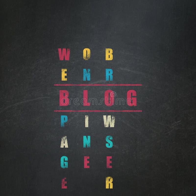 Concept de web design : blog de mot en résolvant des mots croisé illustration stock