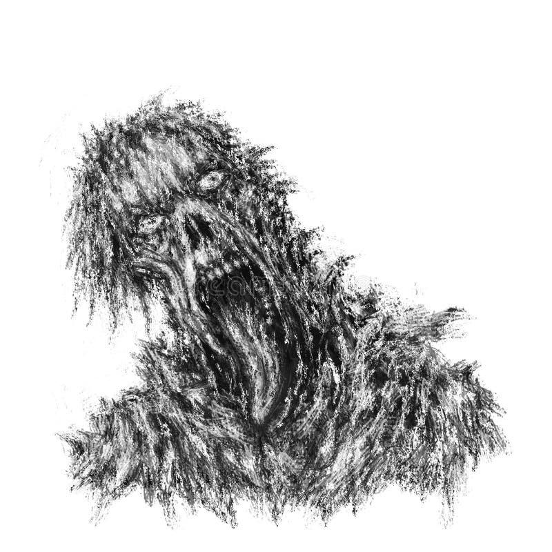 Concept de zombi avec le visage déchiré et la langue accrochante illustration libre de droits