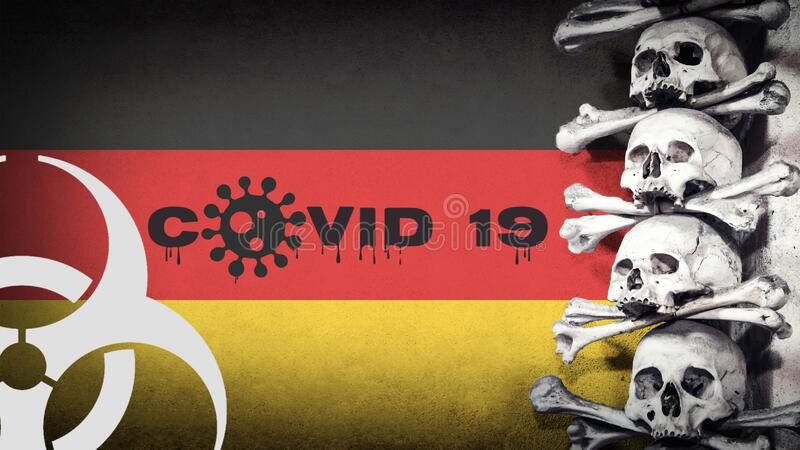 The concept of deadly coronavirus. COVID 19 text with biohazard symbol with photo of human skulls and bones. Germany flag. The concept of deadly coronavirus royalty free stock photo