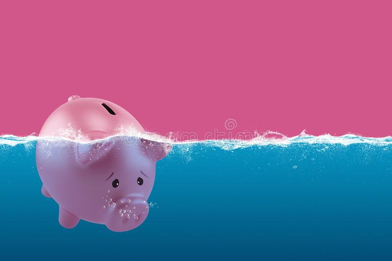 Lonely piggy bank sails in bad waters due to the crisis royalty free stock image