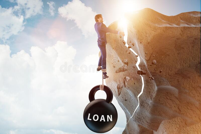 Concept of debt and load with businessman royalty free stock photos