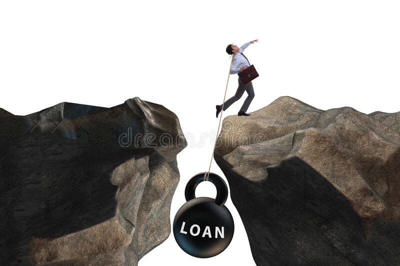 Concept of debt and load with businessman stock photos