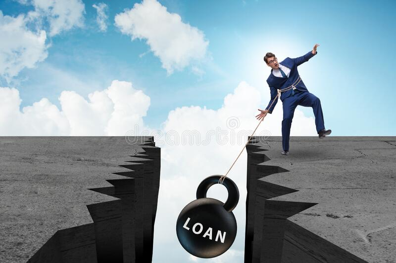 Concept of debt and load with businessman stock image