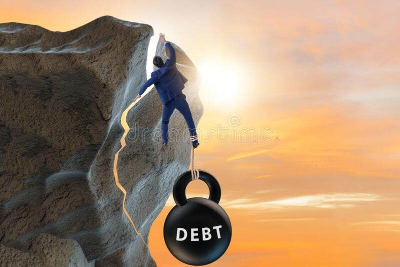 Concept of debt and load with businessman royalty free stock image