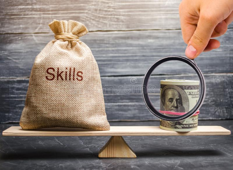 The concept of decent wages of an employee for useful skills. Professionals of the business. Low-quality incompetent courses. Private for teaching another royalty free stock image