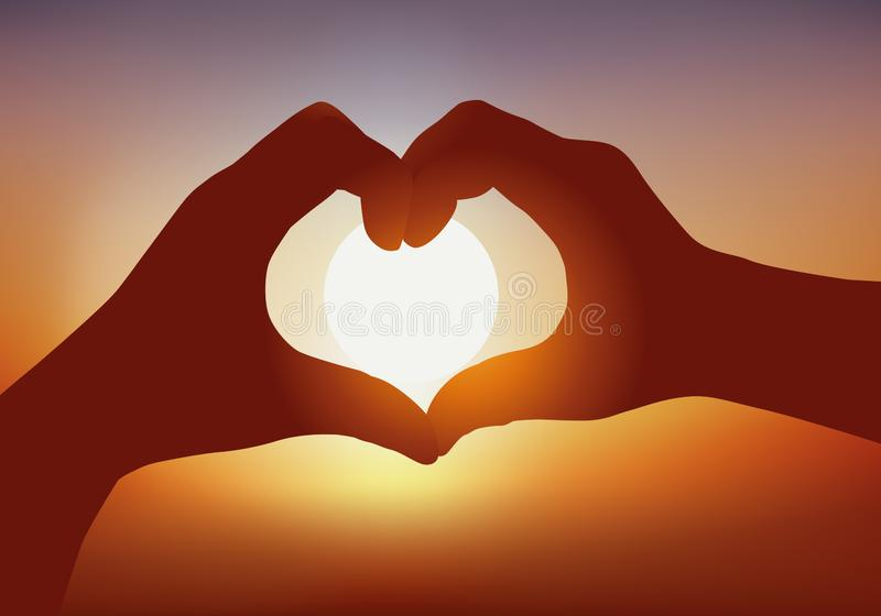 Symbol of love, hands forming a heart in front of a setting sun. royalty free illustration