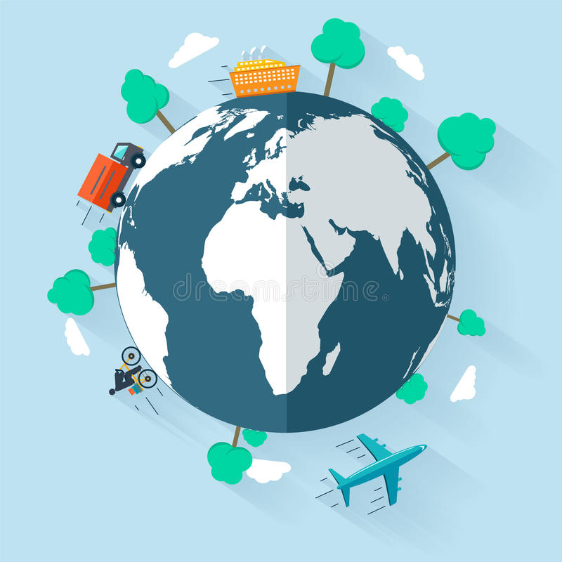 Concept delivering goods worldwide. Flat design signs for web and mobile stock illustration