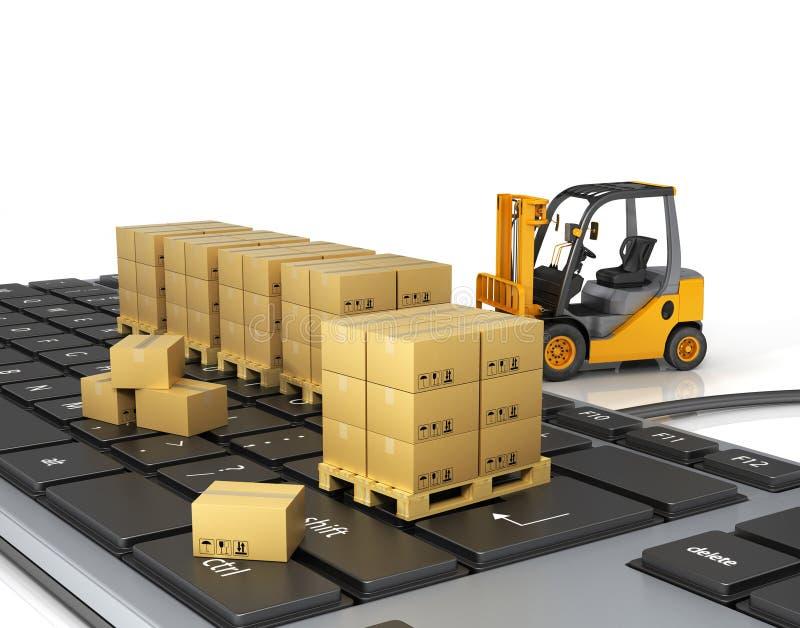 Concept of delivering, shipping or logistics. Forklift on keyboard vector illustration