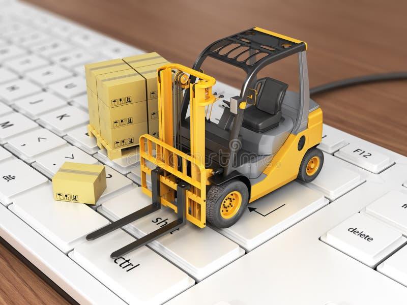 Concept of delivering, shipping or logistics. Forklift on keyboard stock illustration