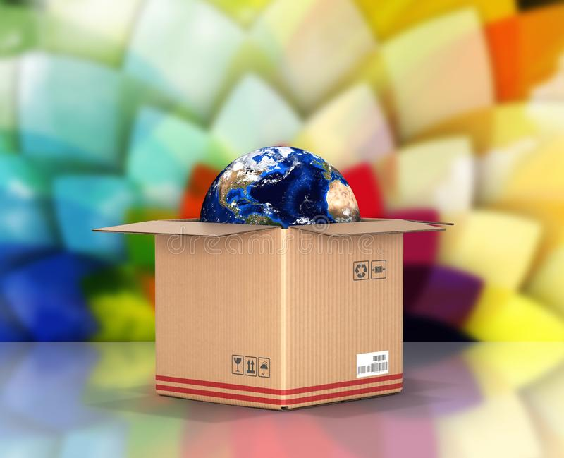 Concept of delivery and shopping Earth in a cardboard box on colorful background 3d royalty free illustration