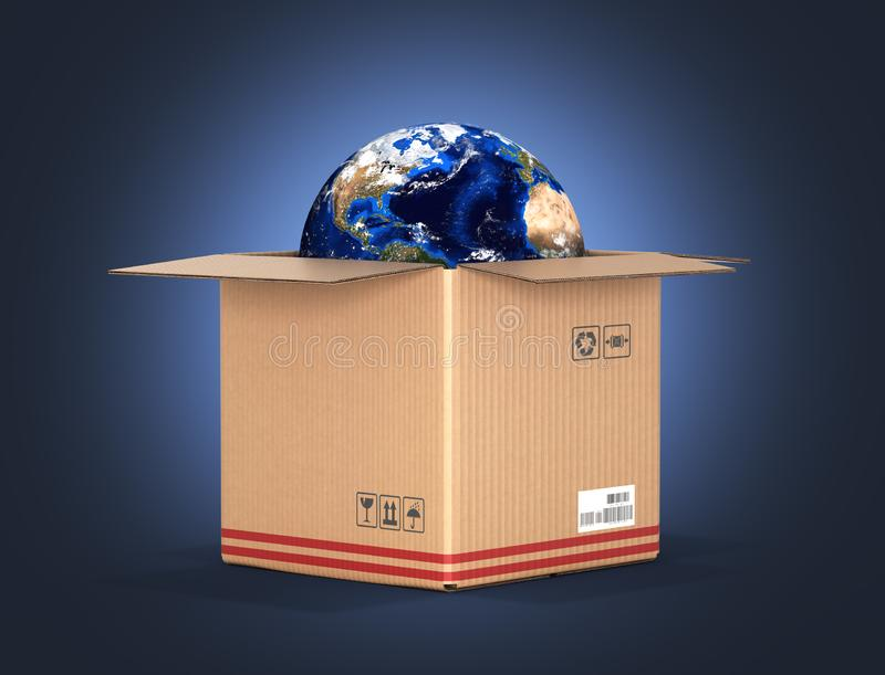 Concept of delivery and shopping Earth in a cardboard box on dark blue gradient background 3d royalty free illustration