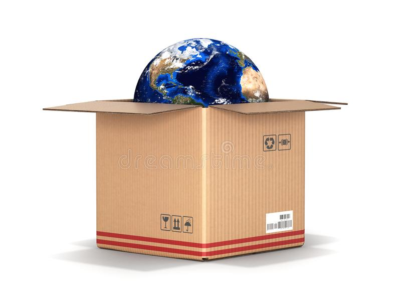 Concept of delivery and shopping Earth in a cardboard box isolated on white background 3d royalty free illustration