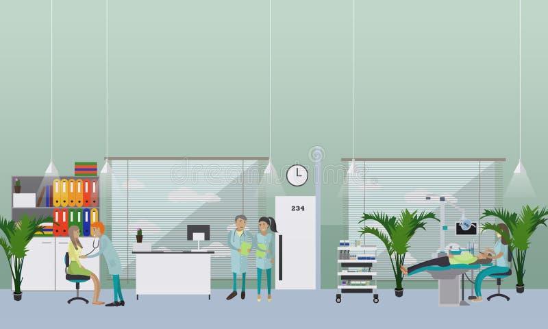 Concept dentaire d'intérieur de clinique Le dentiste travaille avec l'affiche patiente de vecteur illustration de vecteur